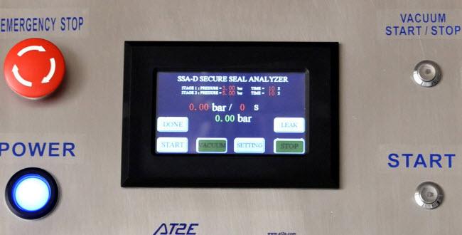 Bảng điều khiển thiết bị kiểm tra độ kín nắp chai