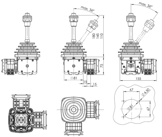 Cần gạt điều khiển VNS0 Spohn Burkhardt | Joystick VNS0 Spohn Burkhardt