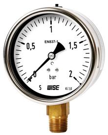 Đồng hồ đo áp suất Wise P253 - Đồng hồ đo áp suất chân đồng P253 - Thiết bị đo áp suất Hàn Quốc P253