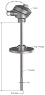 Can nhiệt loại K T-502 Tempsens   Can nhiệt với ống bảo vệ kết hợp mặt bích