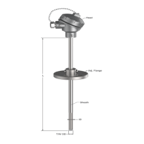 Can nhiệt loại K T-502 Tempsens | Can nhiệt với ống bảo vệ kết hợp mặt bích